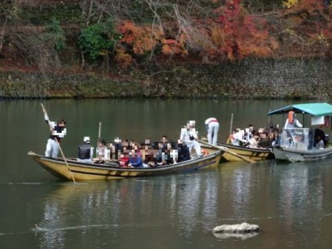 渡月橋の舟