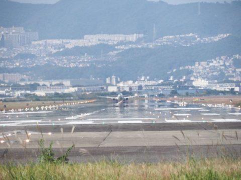 千里川土手飛行機